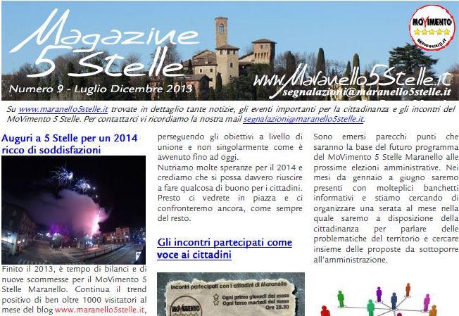 Online il magazine 5 stelle n 9 maranello a 5 stelle for Numero parlamentari 5 stelle