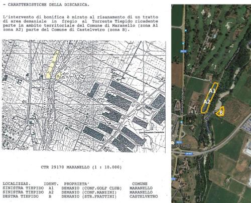 Mappa dell'area oggetto di bonifica tra il 1995 ed il 2001